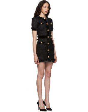 photo Black Tweed Short Dress by Balmain - Image 2