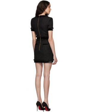 photo Black Tweed Short Dress by Balmain - Image 3