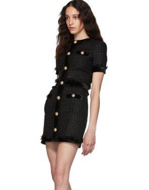 photo Black Tweed Short Dress by Balmain - Image 4