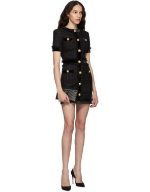 photo Black Tweed Short Dress by Balmain - Image 5