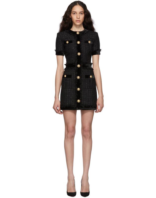 photo Black Tweed Short Dress by Balmain - Image 1