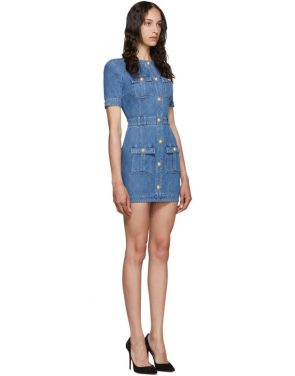 photo Blue Quilted Denim Mini Dress by Balmain - Image 2