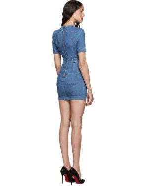 photo Blue Quilted Denim Mini Dress by Balmain - Image 3
