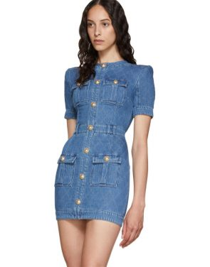 photo Blue Quilted Denim Mini Dress by Balmain - Image 4
