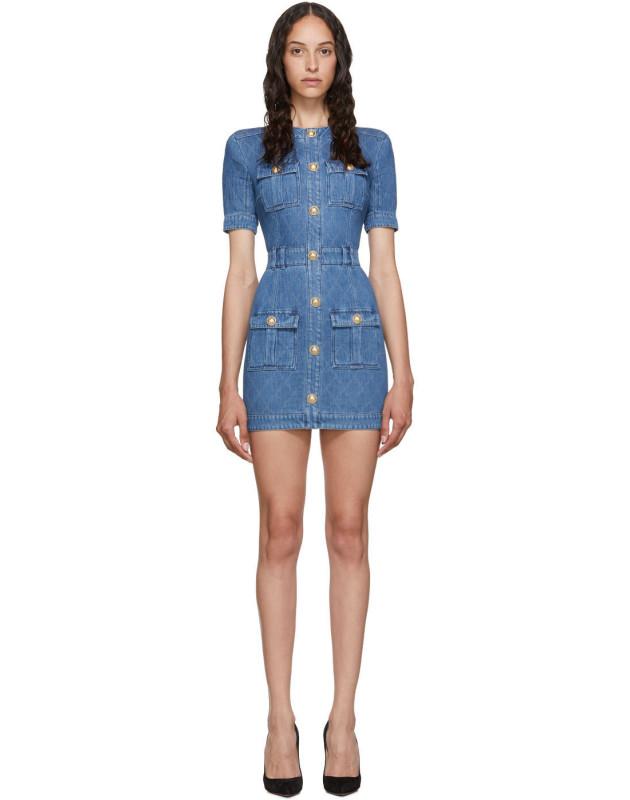 photo Blue Quilted Denim Mini Dress by Balmain - Image 1