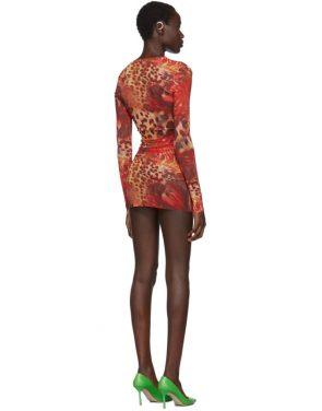 photo Orange Skin Mesh Dress by Mowalola - Image 3
