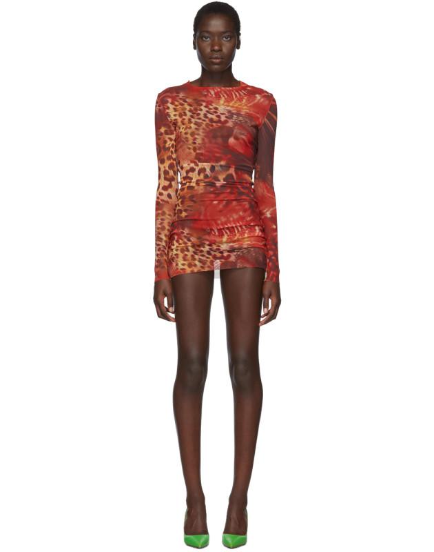 photo Orange Skin Mesh Dress by Mowalola - Image 1