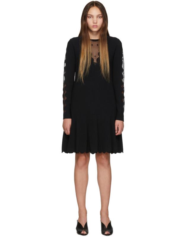 photo Black Knit Ottoman Mini Dress by Alexander McQueen - Image 1