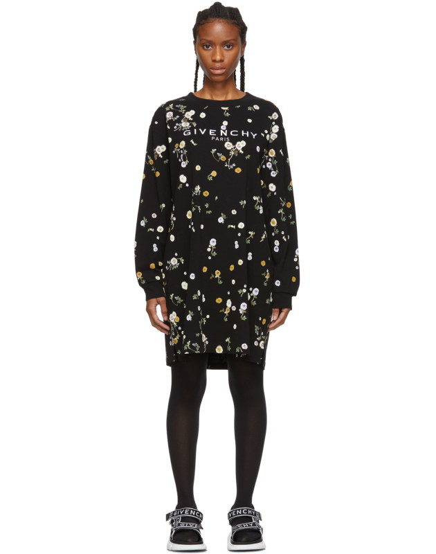 photo Black Floral T-Shirt Dress by Givenchy - Image 1