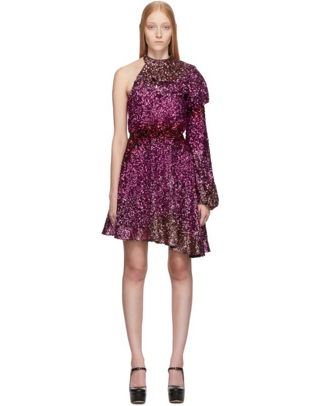 photo Pink Degrade Sequin Single-Shoulder Dress by Halpern - Image 1