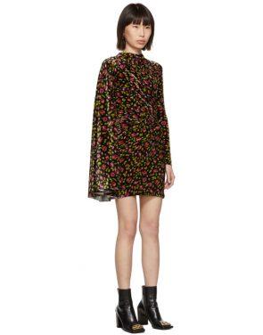 photo Black Velvet Floral Asymmetric Drape Dress by Balenciaga - Image 2