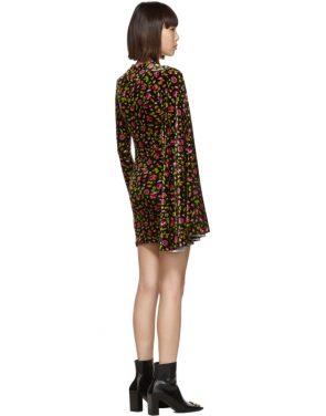 photo Black Velvet Floral Asymmetric Drape Dress by Balenciaga - Image 3