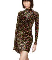 photo Black Velvet Floral Asymmetric Drape Dress by Balenciaga - Image 4