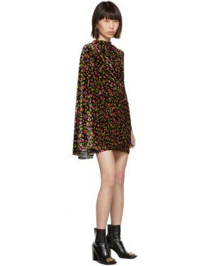 photo Black Velvet Floral Asymmetric Drape Dress by Balenciaga - Image 5