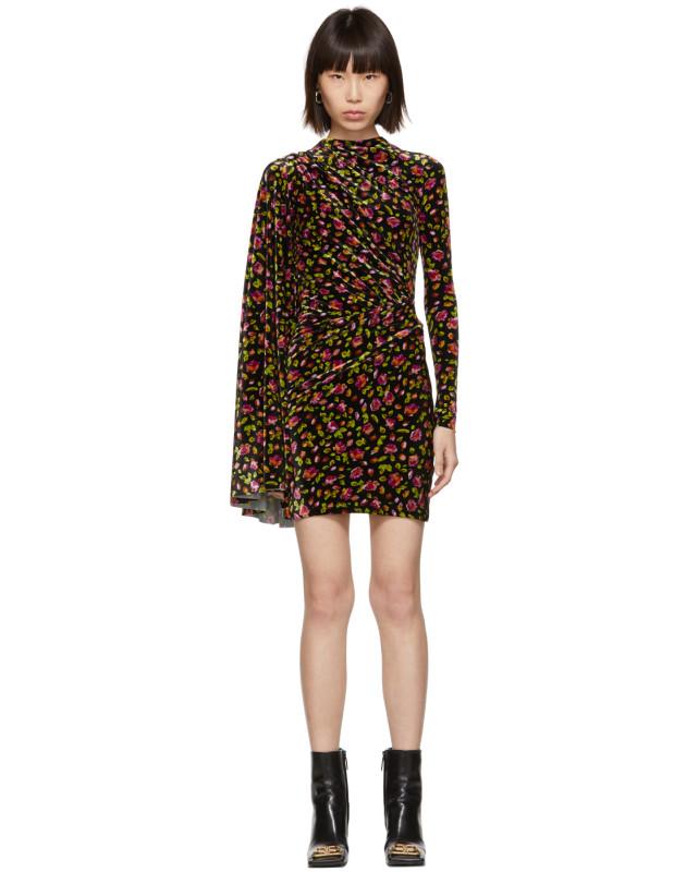 photo Black Velvet Floral Asymmetric Drape Dress by Balenciaga - Image 1
