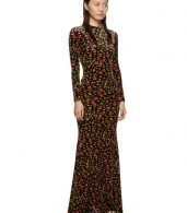 photo Black Velvet Evening Long Dress by Balenciaga - Image 2
