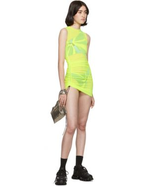 photo Yellow SL Mesh Mini Dress by Louisa Ballou - Image 5