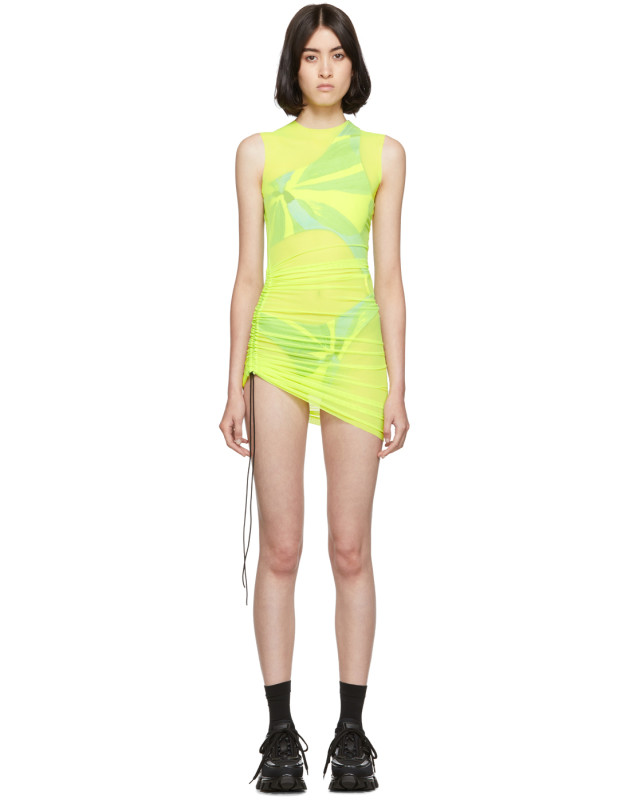 photo Yellow SL Mesh Mini Dress by Louisa Ballou - Image 1