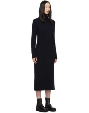 photo Navy Wool Side Button Turtleneck Dress by Marni - Image 2