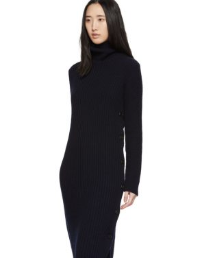 photo Navy Wool Side Button Turtleneck Dress by Marni - Image 4