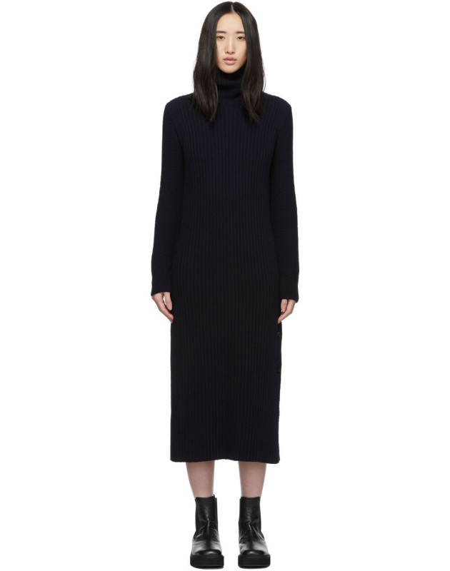 photo Navy Wool Side Button Turtleneck Dress by Marni - Image 1