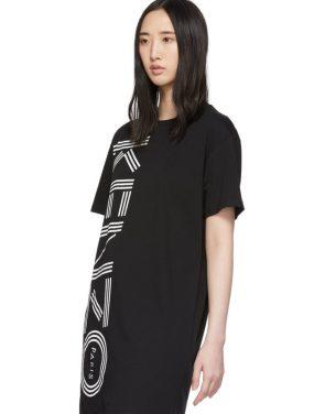 photo Black Logo T-Shirt Dress by Kenzo - Image 4