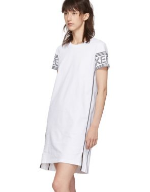 photo White Short Logo Sport T-Shirt Dress by Kenzo - Image 4