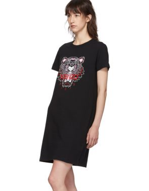photo Black Classic Tiger Head T-Shirt Dress by Kenzo - Image 4