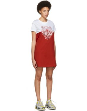 photo White and Red Limited Edition Colorblock Tiger Dress by Kenzo - Image 2