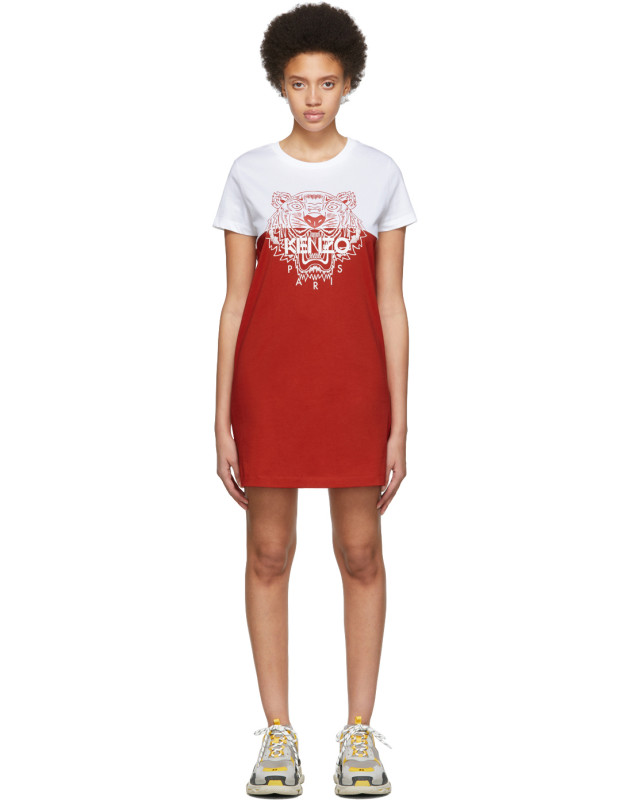 photo White and Red Limited Edition Colorblock Tiger Dress by Kenzo - Image 1