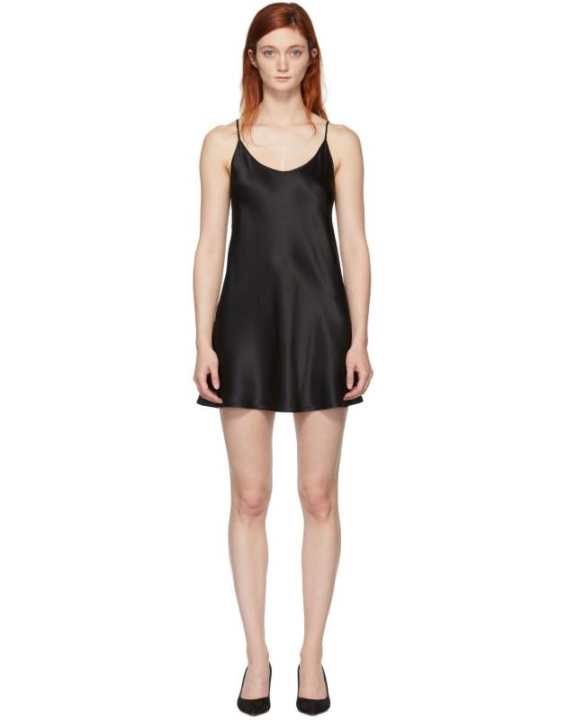 photo Black Silk Short Slip Dress by La Perla - Image 1