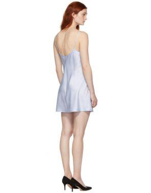 photo Blue Silk Short Slip Dress by La Perla - Image 3