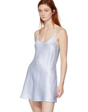 photo Blue Silk Short Slip Dress by La Perla - Image 4