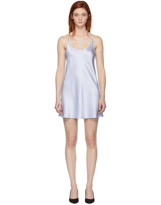 photo Blue Silk Short Slip Dress by La Perla - Image 1
