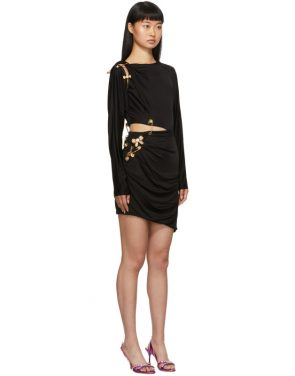 photo Black Draped Safety Pin Dress by Versace - Image 2