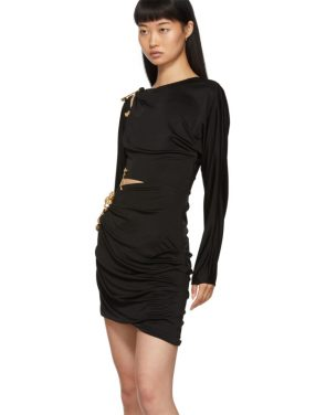 photo Black Draped Safety Pin Dress by Versace - Image 4