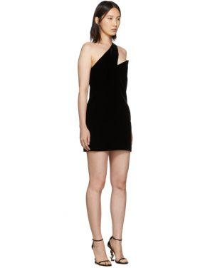 photo Black One-Shoulder Velvet Short Dress by Saint Laurent - Image 2