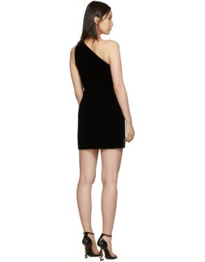 photo Black One-Shoulder Velvet Short Dress by Saint Laurent - Image 3