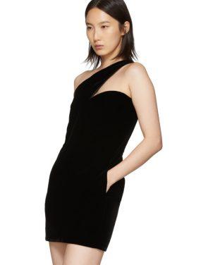 photo Black One-Shoulder Velvet Short Dress by Saint Laurent - Image 4