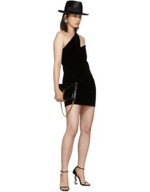photo Black One-Shoulder Velvet Short Dress by Saint Laurent - Image 5