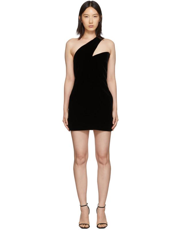 photo Black One-Shoulder Velvet Short Dress by Saint Laurent - Image 1