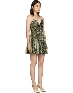 photo Gold Leopard Metallic Pleated Short Dress by Saint Laurent - Image 2