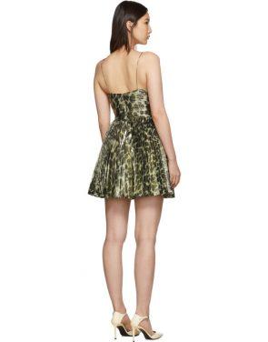 photo Gold Leopard Metallic Pleated Short Dress by Saint Laurent - Image 3