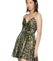 photo Gold Leopard Metallic Pleated Short Dress by Saint Laurent - Image 4