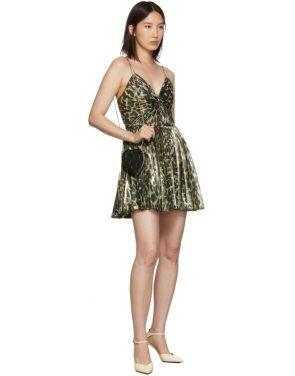 photo Gold Leopard Metallic Pleated Short Dress by Saint Laurent - Image 5