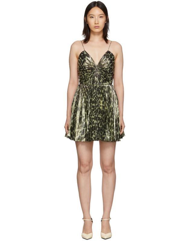 photo Gold Leopard Metallic Pleated Short Dress by Saint Laurent - Image 1