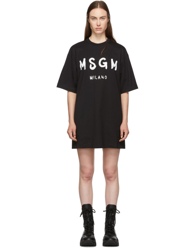 photo Black Paint Brushed Logo T-Shirt Dress by MSGM - Image 1