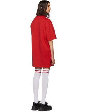 photo Red Paint Brushed Logo T-Shirt Dress by MSGM - Image 3