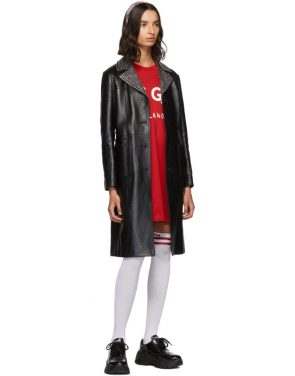 photo Red Paint Brushed Logo T-Shirt Dress by MSGM - Image 5