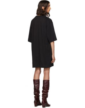 photo Black Sequinned Logo T-Shirt Dress by MSGM - Image 3